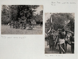 "Irian Jaya (West New Guinea). Dance. ""Hongi"" dancers arrive (singing?), Sorong; ""Hongi"" dancers at Sorong."