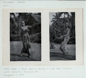 Kalimantan (Borneo). Dance. Wadian dadas, or female shamans, dancing in village street, Murutuwu, Central Kalimantan, (Ma'anjan), 1964.