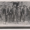 Left to right : Plenty Payne, Billy July, Ben July, Dembo Factor (civilian clothes), Ben Wilson (back row), John July, William Shields; John Jefferson, Informant, January 1889.