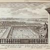 Gezicht van 't plat op zyde over de Orangery, en verder naar Deventer, en Zutsen. = Conspectus plani ad latus e regione Porticus, in qua mala Citria, et ulterius versus Daventriam et Zutphaniam.