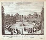Niewe Orangery by Cupido, en Venus, in 't verschiet. = Porticus nova Arantiorum, ubi Venus et Cupido.