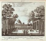 Gezicht by de Rustplaats van de gevlochte Linden, by de Cascaden aan de groote Viver. = Conspectus Tiliarum in Statione ad Lapsum aquarum et Piscinam majorem.