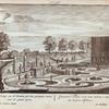 Gezigt van de Fontein, met den gevlogten naam, over de groote Vyver. = Conspectus Fontis cum nexo nomine e regis one majoris Piscinae.