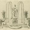 [Fountain with raised centerpiece of nude female figure and cherub.]