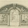 [Perspective views of the interior of a grotto with decorative murals above and to the sides of the arched entryway.]