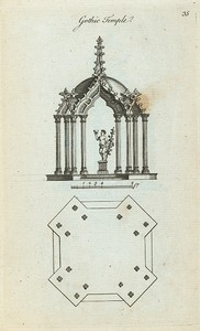 Gothic temple (plan & elevation of an octangular shape).