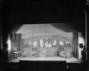 """Set designed by Lee Simonson for Theatre Guild production of Shaw's """"Heartbeak House"""", Garrick Theater, NYC: 1920."""