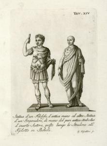 Statua d'un Filosofo, d'antica mano cd altra statua d'un gmperadore, di mano del pari antica:ambedue d'incerto Autore, poste lungo lo Stradone all'Isolotto in Boboli.
