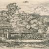Greniers indigènes et habitations à Akaroa, presqu'île de banks.