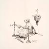[Décor de plat : un chien d'arrêt surveille la cuisson de deux perdreaux embrochés qui rôtissent devant un feu flambant. Dans le haut à droite, un perdreau est pendu par la patte.]