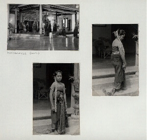 Performance of Bedoyo Ketawang (cont.)[Kapang-kapang (exit of dancers), top left]; Bedoyo Ketawang dancer.
