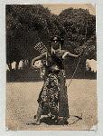 Battle dances, Mangkunagaran and Kraton, Surakarta. Javanese dancer with bow and arrow.