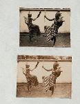 Battle dances, Yogyakarta. Two male dancers in a battle dance.