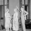 Lynn Fontanne (Eliza Doolittle), Helen Westley (Mrs. Higgins) and  Reginald Mason (Henry Higgins).