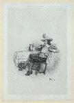 Man at table with tankard, smoking