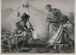 Indians - Bartering [with white man, woman holds baby, man smokes]