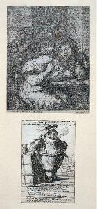 [Man and woman smoking & drinking]; Jean Petit-Gros navigeant en qualite de Dragon des Couteaux pour les Indes Orientales  [Lilliputian -type figure]