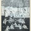 Indian women bathing in river, one on bank smoking a hookah]