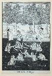 Indian women bathing in river, one on bank smoking a hookah