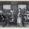 Men in turbans and a middle eastern setting smoking, one with a hookah, another with a long pipe]