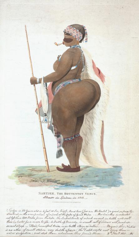 Sartjee, la Venus hotentote. Imagen: Biblioteca Pública de Nueva York, colección digital