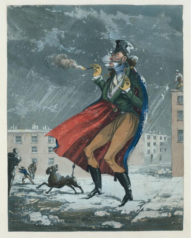 Hombre fumando durante una tormenta de nieve. Imagen: Biblioteca Pública de Nueva York, colección digital