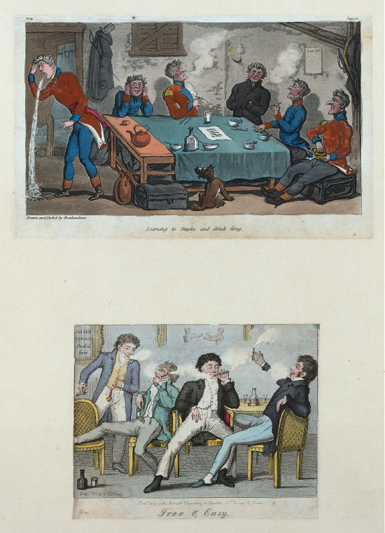 Aprendiendo a fumar y a beber grog: libre, y fácil. Imagen: Biblioteca Pública de Nueva York, colección digital