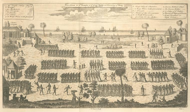 This is What Thomas Astley and Procession to the Temple of the Great Snake on crowning the King Looked Like  in 1745