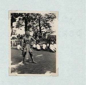 "Wayang Wong, Kraton Yogyakarta, 1930s. [Male dancer. Note that this is the same male dancer that Claire Holt labeled as ""Bima's son Anantaredjo [Antareja],"" Karaton Yogyakarta, 1934.]"
