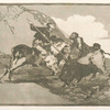 Modo con que los antiguos españoles cazaban los toros á caballo en el campo.
