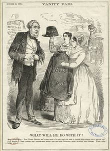 What will he do with it? [cartoon depicting James Gordon Bennett, senior], from Vanity Fair, October 20, 1860.