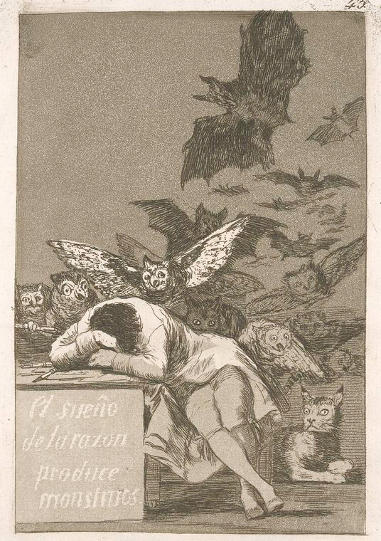 This is What Francisco Goya and El sue?o de la razon produce monstruos Looked Like  in 1799