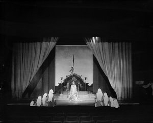 "Scene from ""Marco Millions"", Guild Theatre, 1928. Set and costumes designed by Lee Simonson. Margalo Gillmore as Kukachin (centre)."