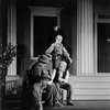 """Scene from O'Neill's """"Mourning becomes Electra"""". Grant Gordon (as Joe Silva), Arthur Hughes (as Seth Beckwith), Erskine Sanford (as Abner Small), bare-headed, Jack Byrne (as Amos Ames), hand on hip, and Oliver Putnam as Ira Mackel?"""