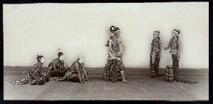 Java - Wayang Wong: Arjuna Wiwaha. Istana, Mangkunagaran, Surakarta, 1936-1937. Scene: Ardjuna with Semar, Petruk, and Gareng approached by two widadari [celestial nymphs] in the temptation scene or Ardjuna and the two nymphs yielded by the gods to Niwatakawatja in the latter's palace.