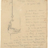 Letter to Frederick Keppel dated July 26, 1886, with a drawing of a hanging oil lamp.