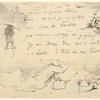 Sheet with a poem and studies of a man with an umbrella, a ship at sea, and a ghost flying to London.