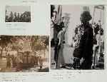 Garebeg [Festival]. Keraton troops in Solo, 1933? (top left); Gunungan carried to mosque by keraton servants. Jogjakarta [Yogyakarta], 1930-1931, (bottom left); A high court official in Garebeg parade, Jogjakarta [Yogyakarta], 1930-1931, (right).