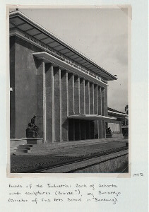[West Java - Architecture.] Facade of the Industrial Bank of Jakarta with sculptures (bronze?), by Suniardjo (Director of Fine Arts School in Bandung).