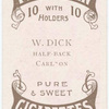 W. Dick, half-back (CFC) [Carlton Football Club].
