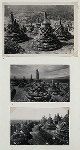 Borobudur [Barabudur] - General. 1. Dagobas viewed from the base of the crowning stupa, Barabudur. (Photo: Claire Holt, 1935); 2-3. View of the dagobas which conceal Buddha images on the circular terraces, Baabudur.