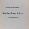 Report on the designs and plans of the New York Arcade Railway by expert engineers. 1886. [Cover page]