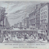 New York Arcade Railway. (view up Broadway, from Pine Street), original plan, including sidewalks, 1868.