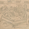 The great game of political pool [James G. Blaine in center, scratching his head].