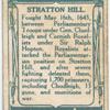 "Battle of Stratton Hill [May 16th, 1643]. (Sir Beril Granville [Bevil Grenville]; the quaint record on the ""Tree Inn""; Sir Beril's [sic!] helmet.)"