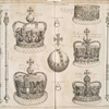 The second plate of the regalia : St. Edward's crown, The crown of state, the orbe, the queens circle, the crown wherwith the queen was crowned, the rich crown, the king's coronation ring, St. Edward's staff,..., the Queen's scepter.