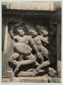 "Prambanan - Dance sculptures. Dancers led by drummer, relief on the balustrade of the Shiva Temple, c. 21"" high. Photo: D.P. 8497--list #62 /cf. Pl. 149, Kempers [frontispiece of Art in Indonesia]"