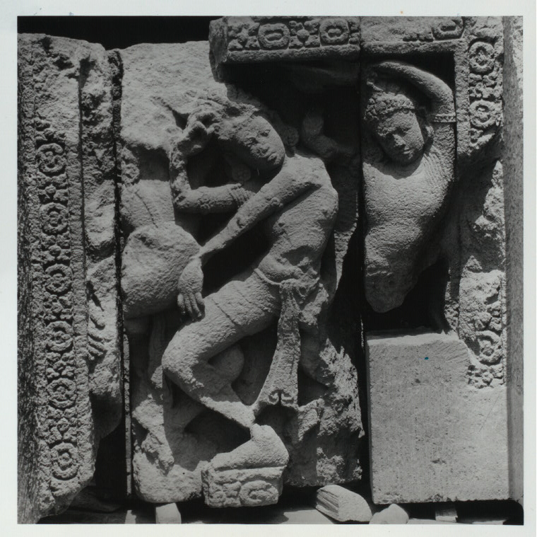 Prambanan - Dance sculptures. Group of dancers, relief on the outer wall balustrade, Shiva Temple, Panels c. 21 inches high. Photo: Claire Holt, slide SA 183.