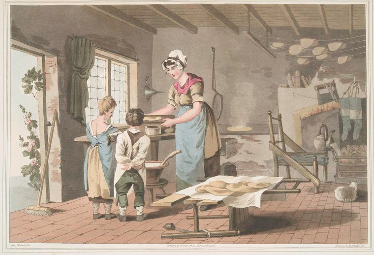 Woman making oat cakes.