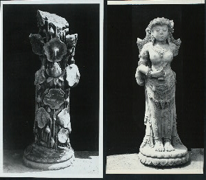 "Java, East: Antiquities. Jebuk [town]. Posthumous statue of Queen of Modjopahit, and the back side of the image filled with lotus plans springing from a pool. (Kempers does not think definite identification of the queen is possible at present.) After 1447 A.D., Djebuk, Tulung Agung, East Java, height about 62.4"", now in  Djakarta Museum. Photos: D.P. #10989 and 10990, list #163 and 164, cf. Kempers, Pls. 265-266 (note that arm has been added and face more disfigured in Kempers' detail Pl. 266) cf. also CH slide SA 146-SA 147."
